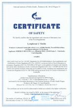 Certificate of safety<br>Lymphosan L Vitality Food supplement Lymphosan L Vitality, 90 g